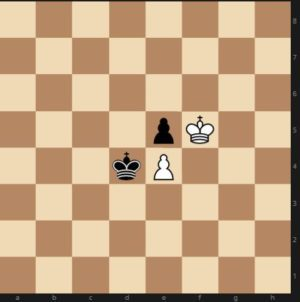 Chess board training diagram position where whoever moves next loses the pawn and the game